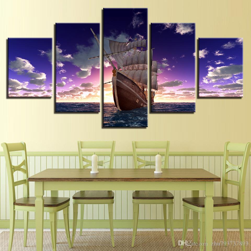 2018 Canvas Prints Poster Wall Art Sailboat Sunset Seascape ...
