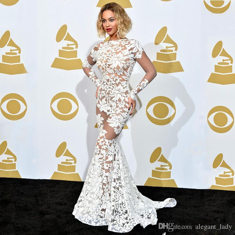 Beyonce In Lace Applique Michael Costello Grammy Awards Red Carpet Celebrity Dresses Long Sleeve Sheer Evening Dresses Backless Prom Gowns