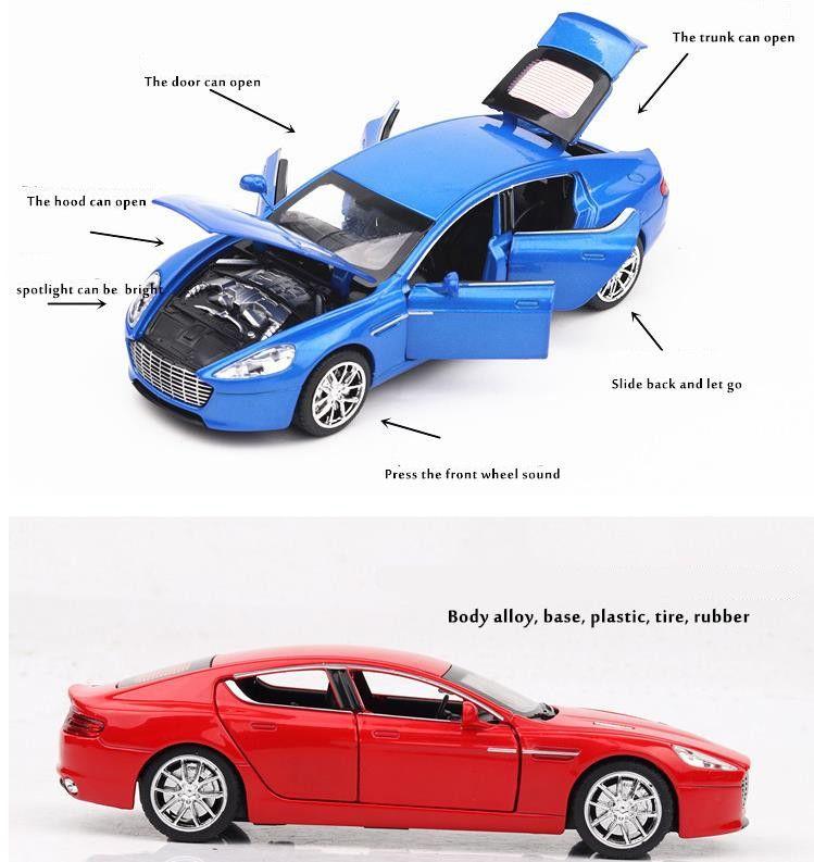 Alta simulación Aston Martin escala 1:32 de aleación modelo de automóvil diecast vehículos de juguete de metal luz de sonido 6 puertas abiertas multicolor