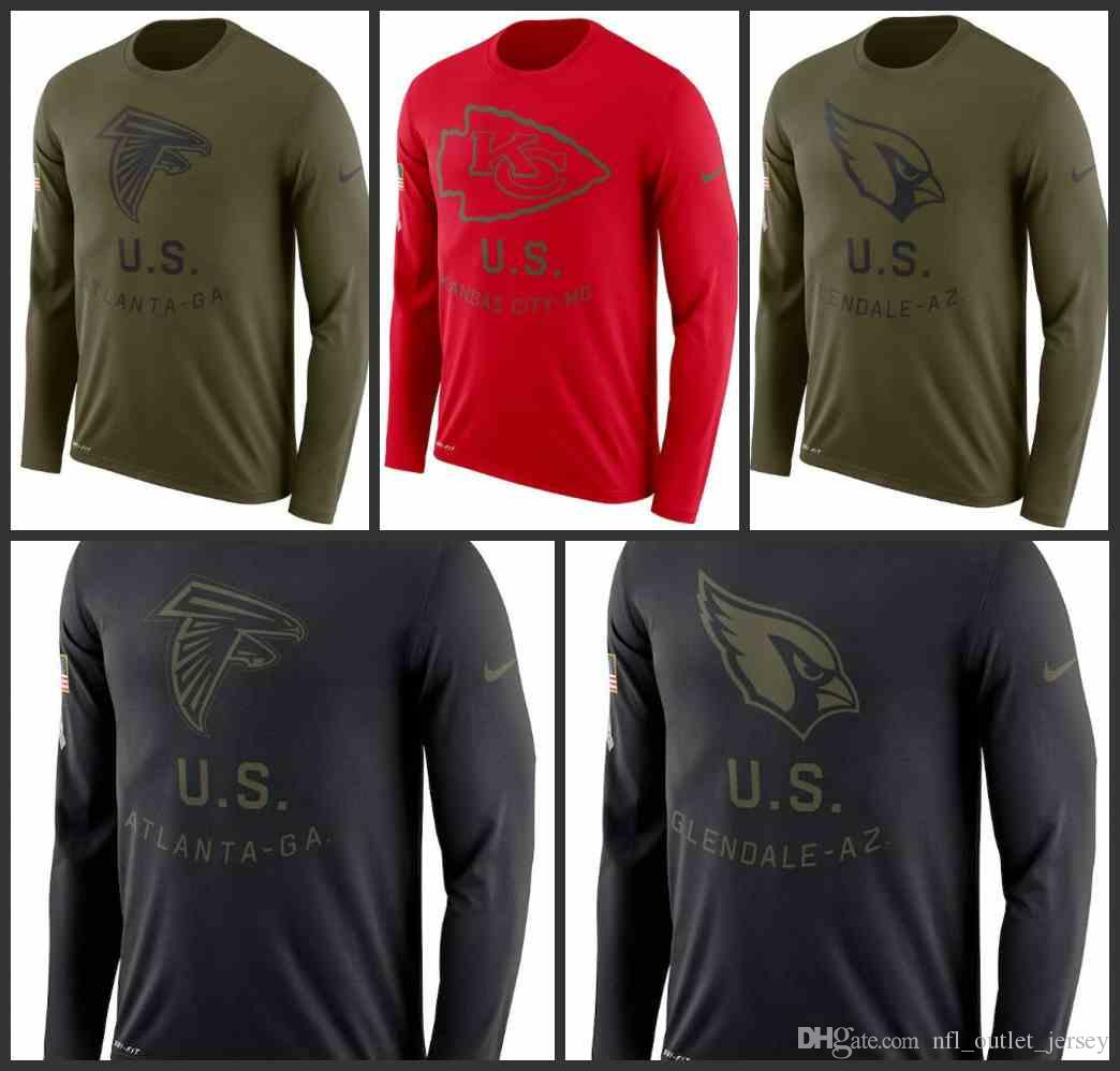 new concept fe6bf cb384 Atlanta Falcons Kansas City Chiefs Arizona Men Cardinals Salute to Service  Sideline Legend Performance Long Sleeve T-Shirt Olive