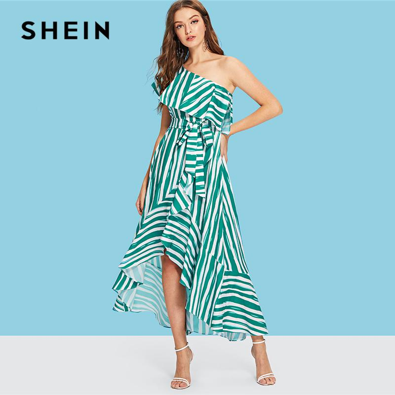 7245ef6720 SHEIN Green Vacation Bohemian Beach One Shoulder Self Belted Asymmetrical  Hem Striped Ruffle Dress Summer Women Casual Dresses Long Summer Dresses  Silk ...