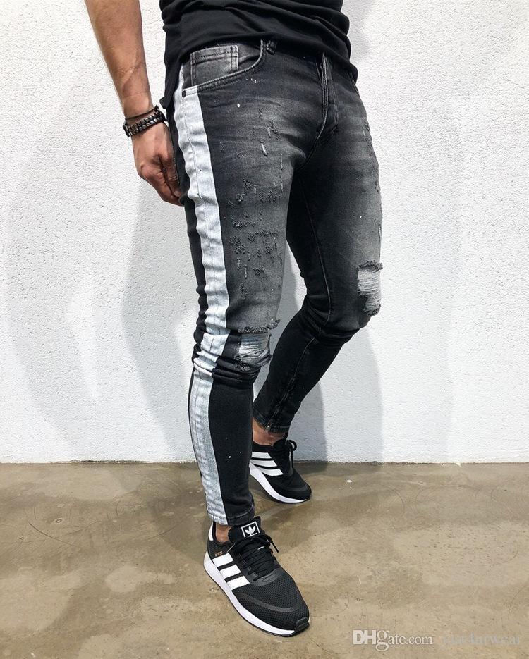 688921ba266d6 Compre Moda Para Hombre De Mezclilla Pantalones Largos Pantalones De Rayas  Laterales Ripped Jeans Para Hombre Ropa Hombre Negro High Street Slim Biker  Jeans ...