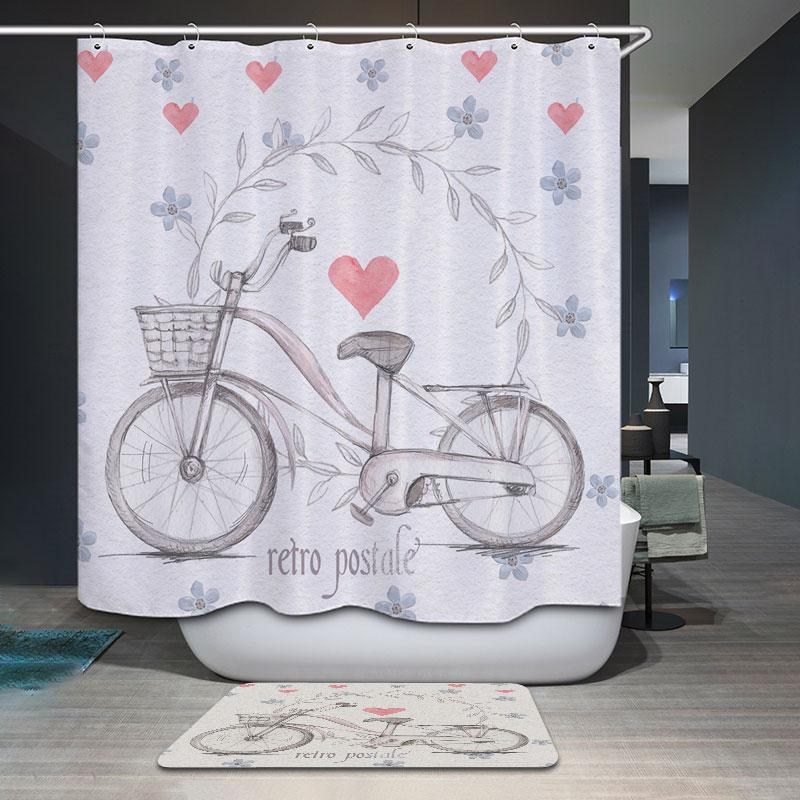 2019 Polyester Waterproof Retro Cartoon Bicycle Heart Shower Curtain Bathroom Curtains 12 Hooks Mildewproof Bath From Williem 2478