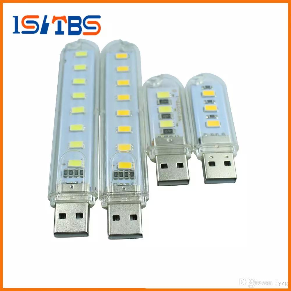 100pcs/set 3Leds or 8leds 5730 Mini led USB Lamp 30mm or 100mm portable Lighting Computer Small Night Light Free shipping