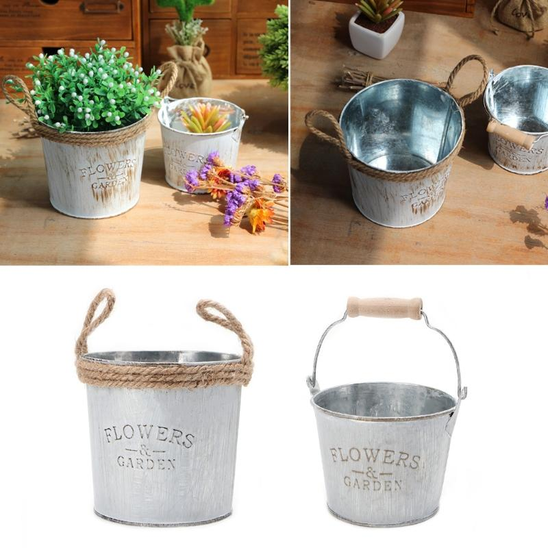 Galvanised Metal Iron Flower Garden Shabby Vase Pot Barrel Planter
