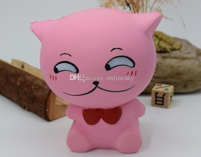 Hot sell Squishy Simulation Bow Tie Cat Decompression Toys PU Slow-Rebound Squishy Pink White Cat Kawaii Cute Animal Squishies Slow Rising