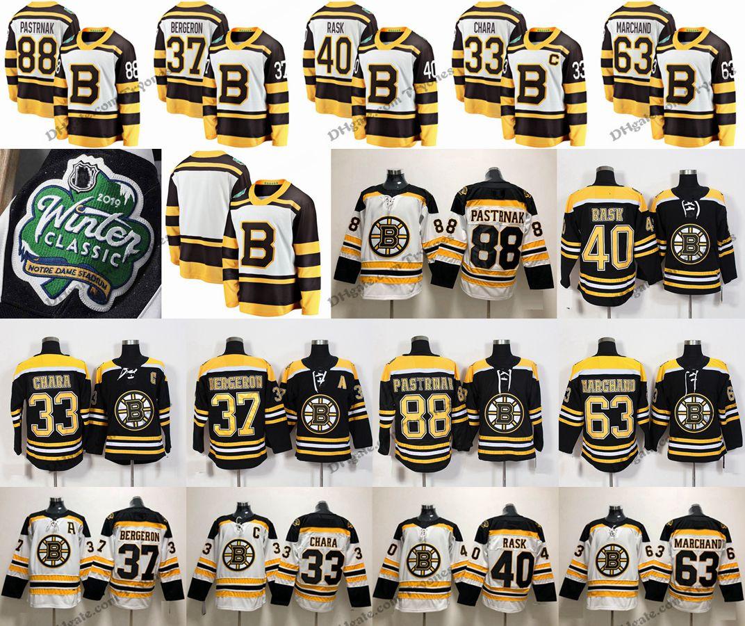 2019 Winter Classic Boston Bruins 37 Patrice Bergeron 33 Zdeno Chara 63  Brad Marchand 40 Tuukka Rask 88 David Pastrnak Black Hockey Jerseys Brad  Marchand ... 6b015d36d