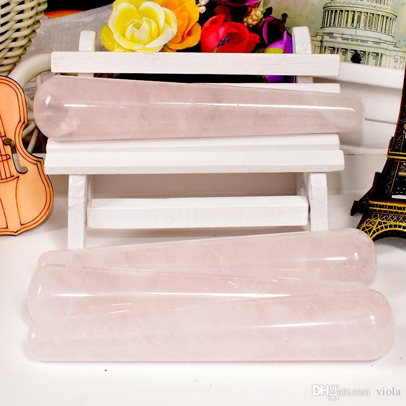 Strumento di massaggio di cristallo di quarzo rosa naturale raschiando bacchetta massaggiatore viso massaggiatore bastone a punta spa