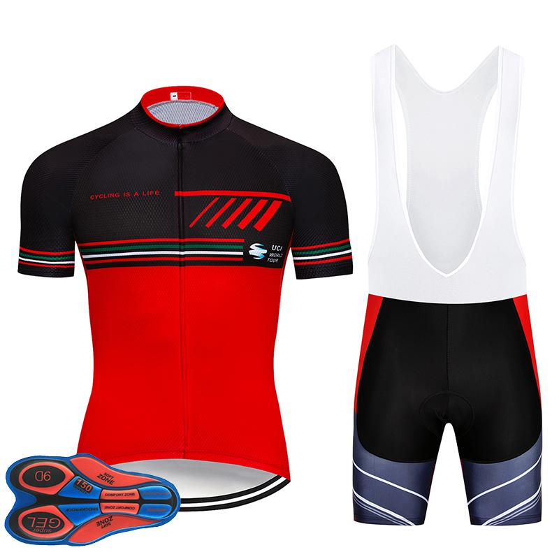 2019 Red Colour Team Summer Pro Sporting Racing UCI World Tour Pro Cycling  Jersey Bike Shorts Set Ropa Ciclismo Bicycle Wear 9D Gel Bike Accessories  Cycling ... 6808fbd27