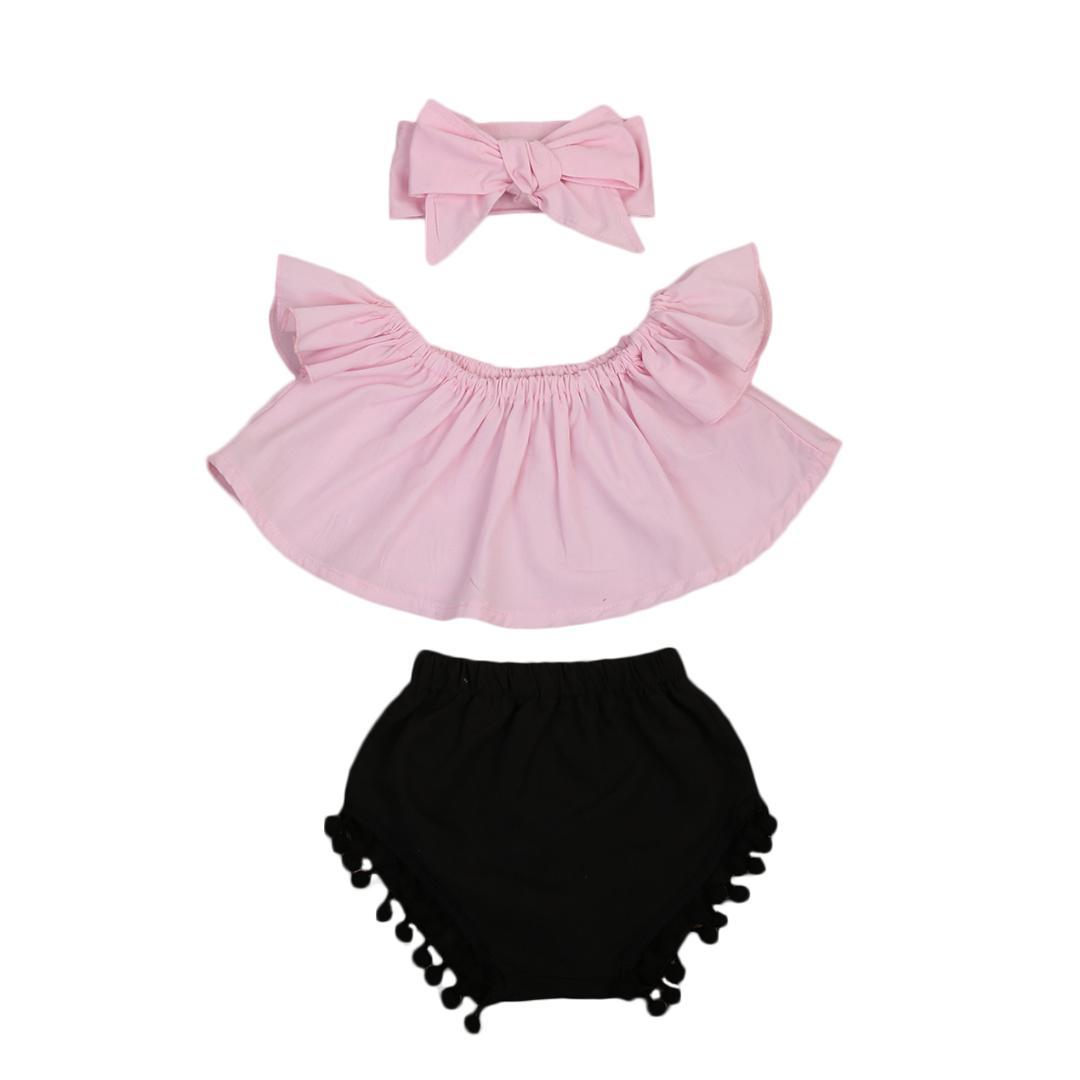 ca83b5b17af0 2019 Pudcoco Summer Cute Baby Girls Fashion Outfit Newborn Baby Girl  Clothes Set Off Shoulder Top T Shirt+Shorts Pants From Sightly