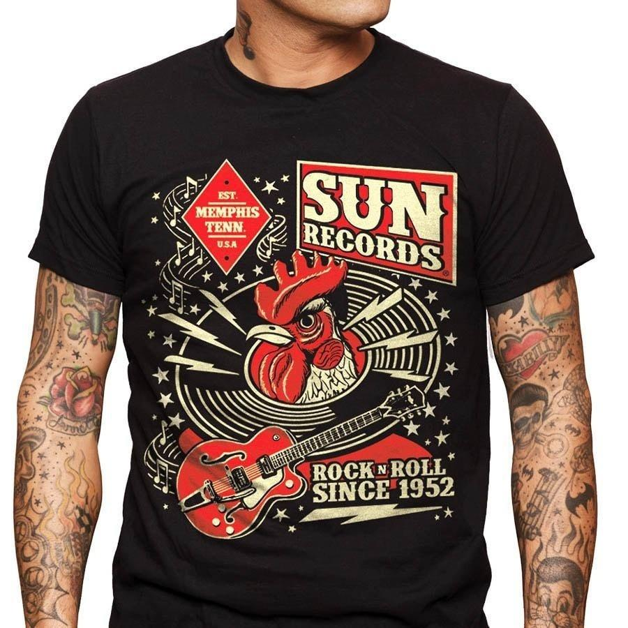 12e06398f2d Fitted T Shirts Sun Records Rock N Roll Rooster Music Vintage T Shirt Short  Sleeve Men Fashion 2018 Crew Neck Tee Shirts Shopping T Shirt Online Cool T  ...