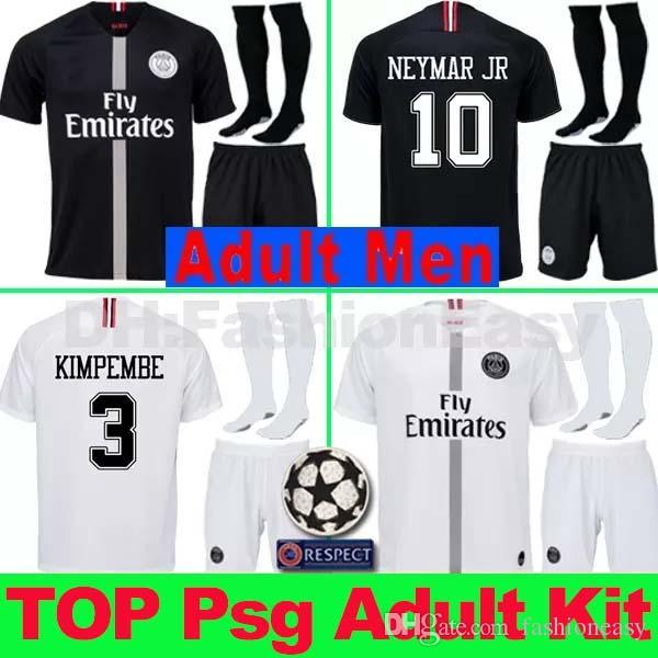 Maillots AJ PSG Soccer Jersey Men Uniform Kit 2019 Paris MBAPPE ... 5ef4c0519