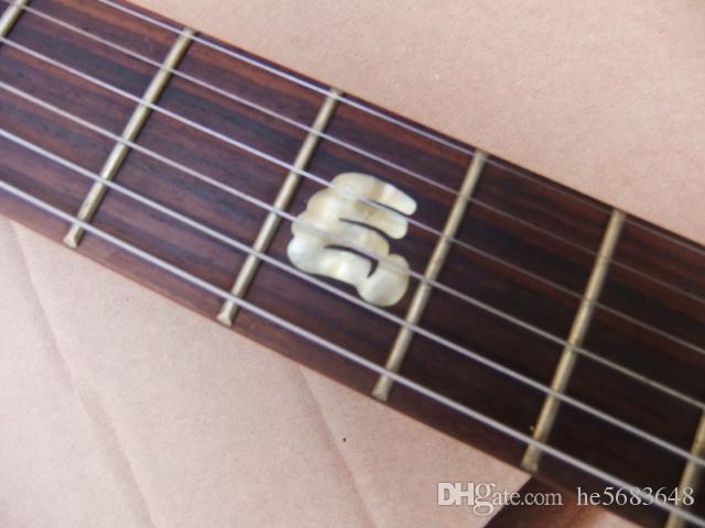 Frete Grátis! Atacado Padrão LP Guitarra Elétrica Abalone Punho Inlay Black Hardware Em Preto Fosco 101206