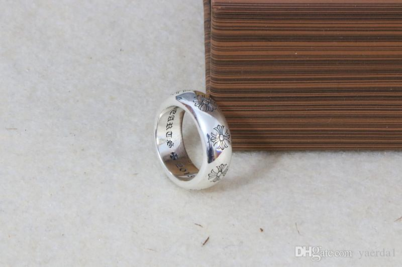 Cross sterling silver round male simple and anonymous ring British temperament ring female stainless steel bracelet Designer ring kendra