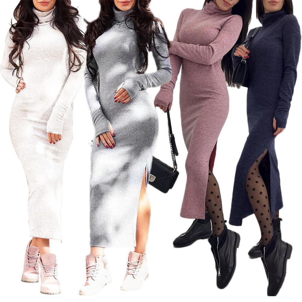 e6fb5a3a2a Women Sweaters Dress 2018 Knitting Turtleneck Dress Autumn Winter Long  Sleeve Warm Bodycon Midi Dress Knitted Dresses Womens Dresses Red Prom  Dresses From ...