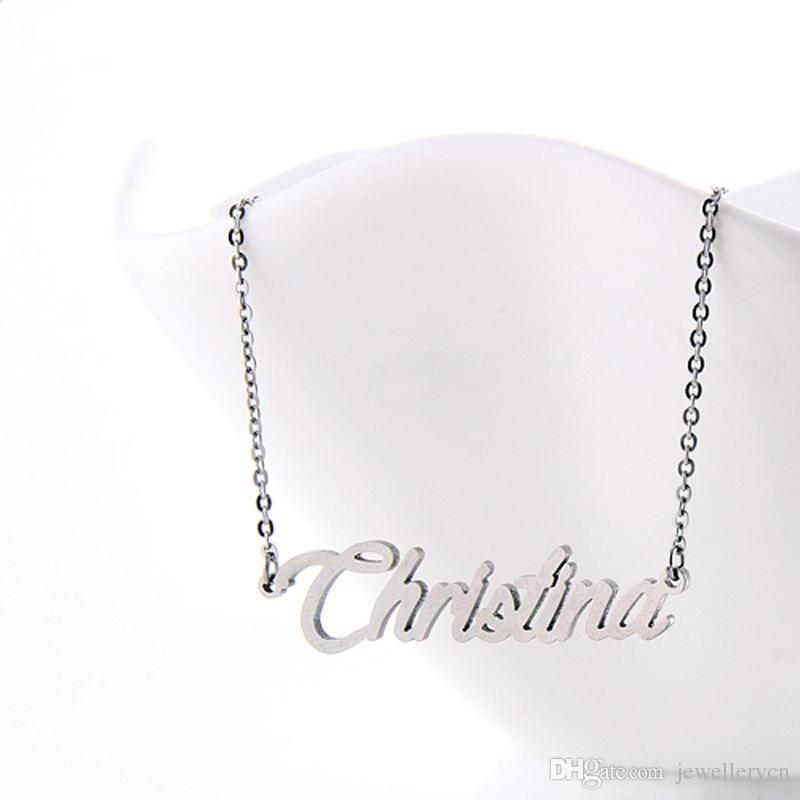 Benutzerdefinierte Namen Halskette für Frauen Personalisierte Namensschild Charme Halskette Edelstahl Gold und Silber Schriftart Buchstaben Name Halskette