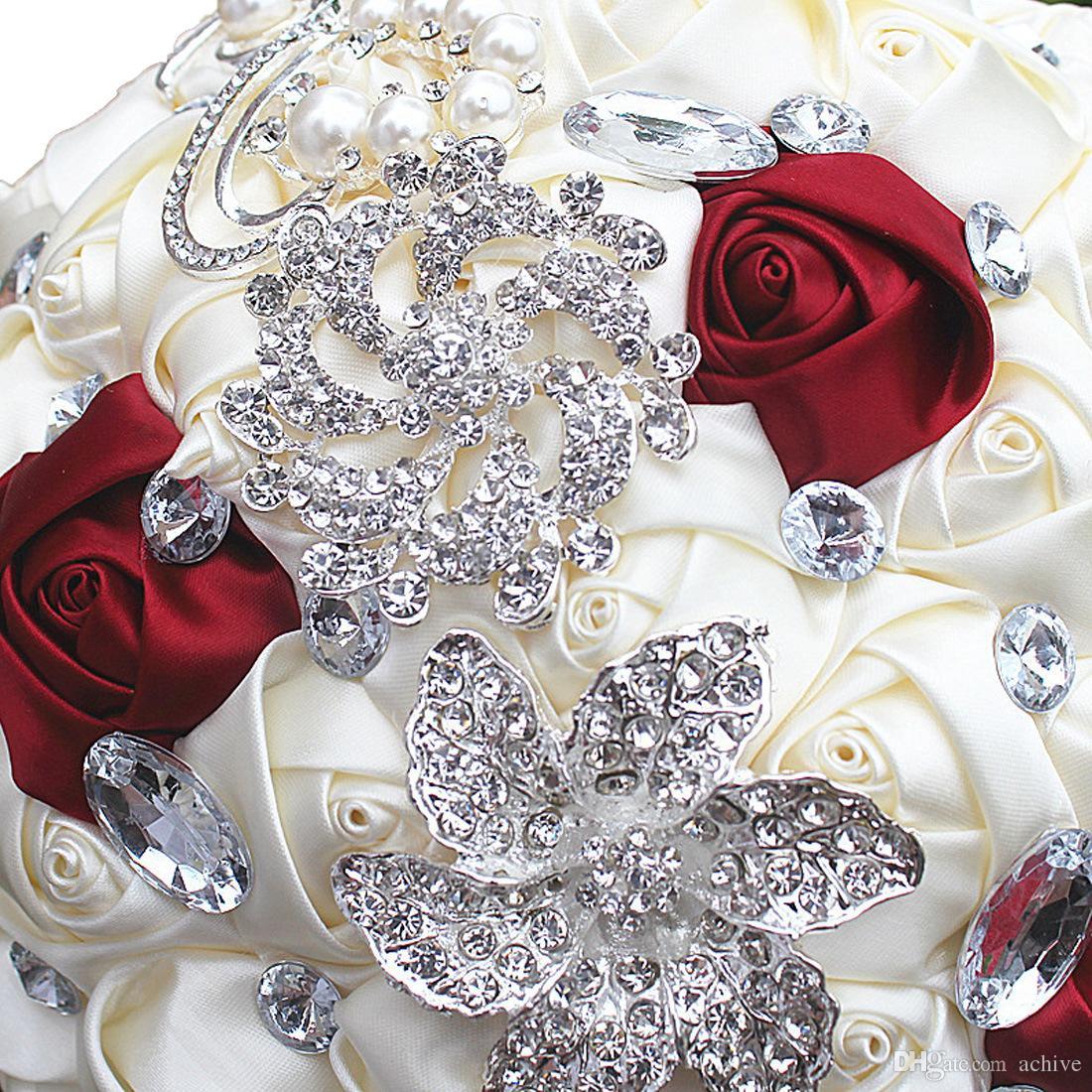 2020 Zarif Düğün Çiçekleri Gelin Buketleri Yapay Gelin Buketi Kristal İnciler buque de Noiva Broş