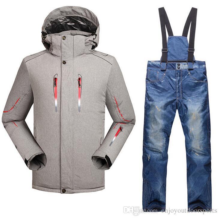 Compre Traje De Esquí Para Hombre Invierno 2018 Impermeable A Prueba De  Viento Espesar Calor Térmico Masculino Pantalones Para La Nieve Hombres  Conjuntos De ... 1b9cc8a5fd0