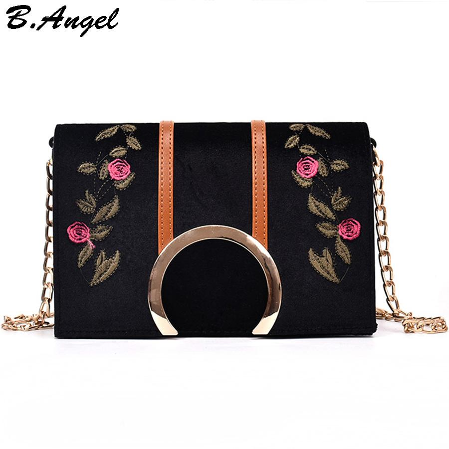 6f3e6cf516 Roses Flowers Embroidery Chain Bags for Women Small Messenger Bags ...