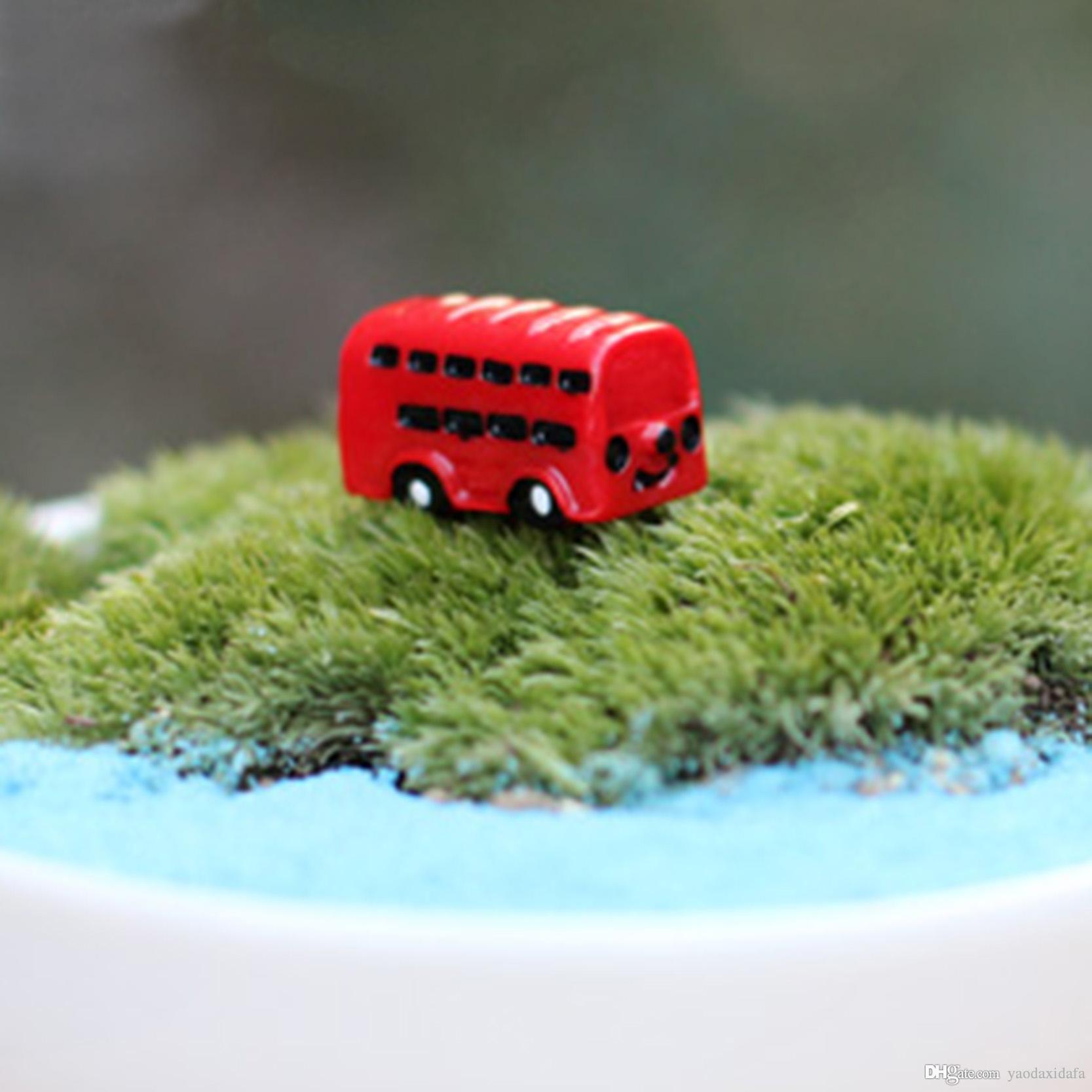 2018 Mini Resin Red Bus Fairy Garden Moss Decor Crafts Bonsai Bottle ...