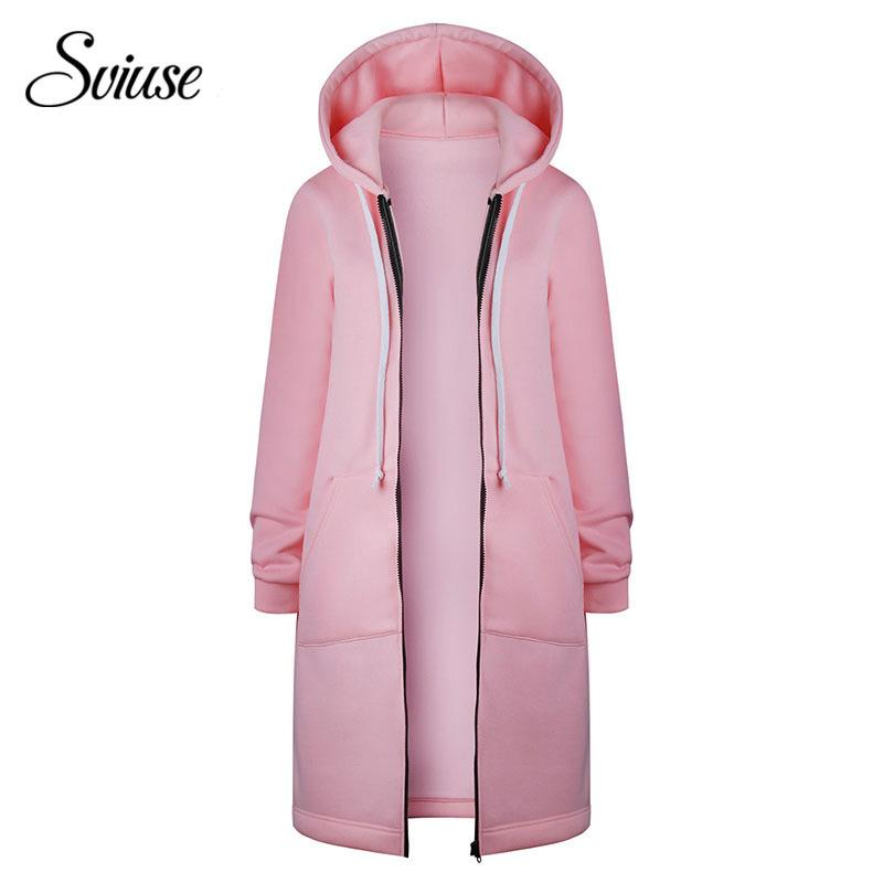 1c1dcd188af Pink Long Sweatshirt Jacket Women Casual Long-Sleeve Zipper Pocket Hoodies  Female Autumn Winter Harajuku Hoodie Sweatshirt Coat D18102907 Online with  ...