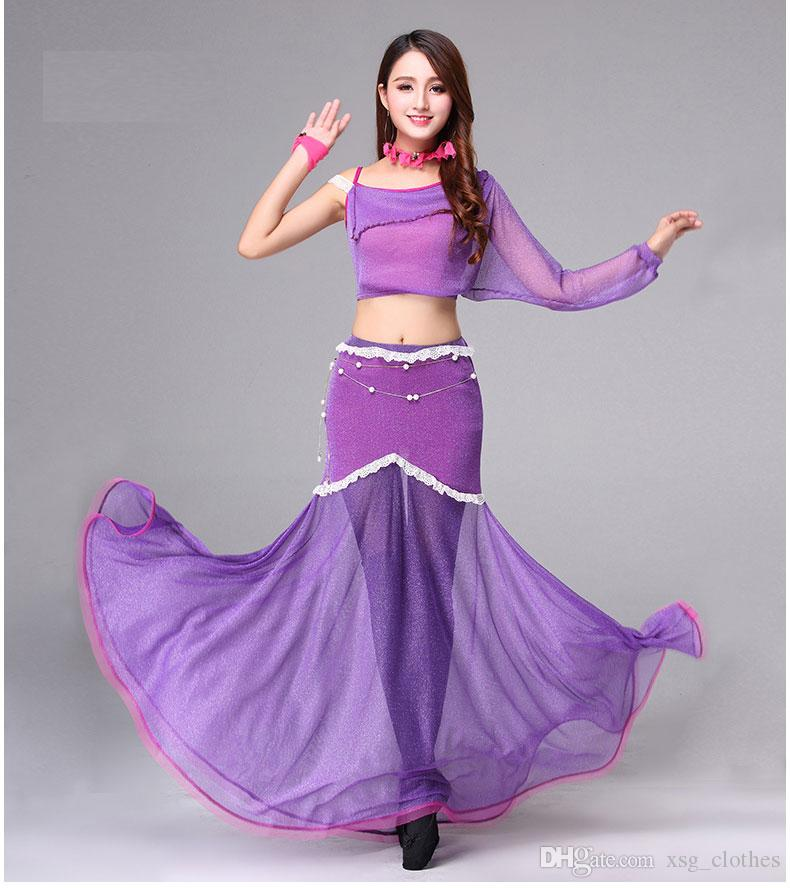 5d1d23a1c Belly dance practice clothes stage set top+skirt silver mesh large swing dress  costume sexy lace belly dancing women suit practice clothes