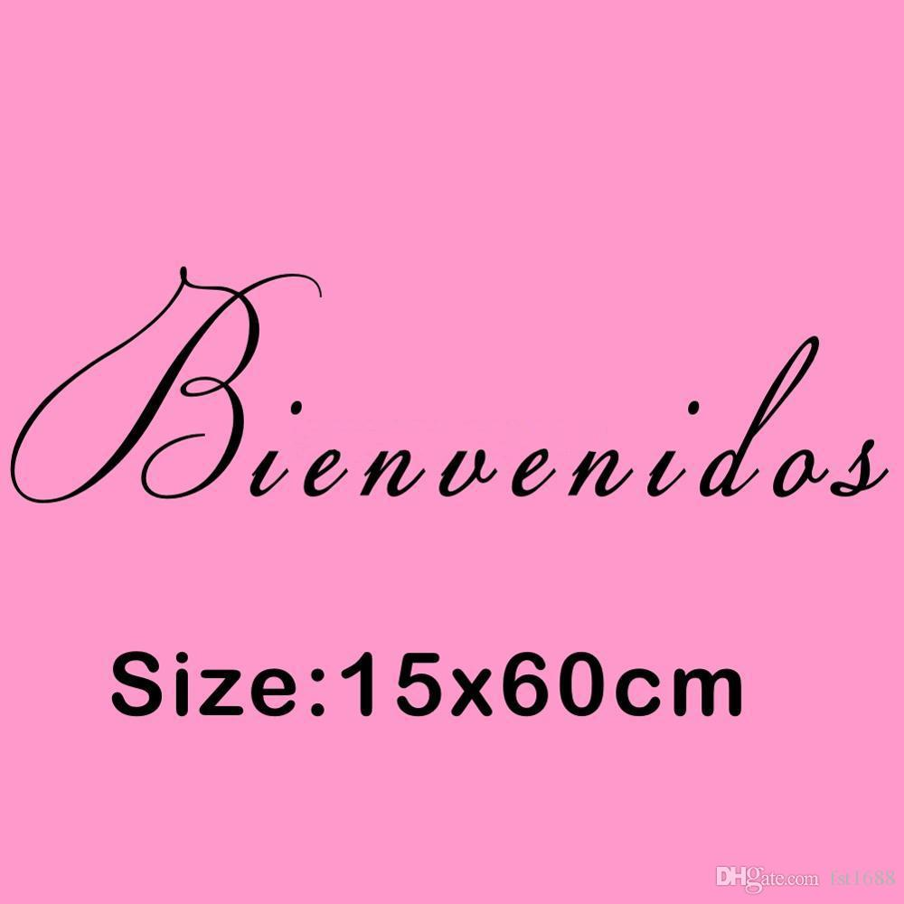 Creative Quotes Welcome Letter spain Character Bienvenidos Door Wall Sticker Art Vinyl Decal Mural for Home Decoration