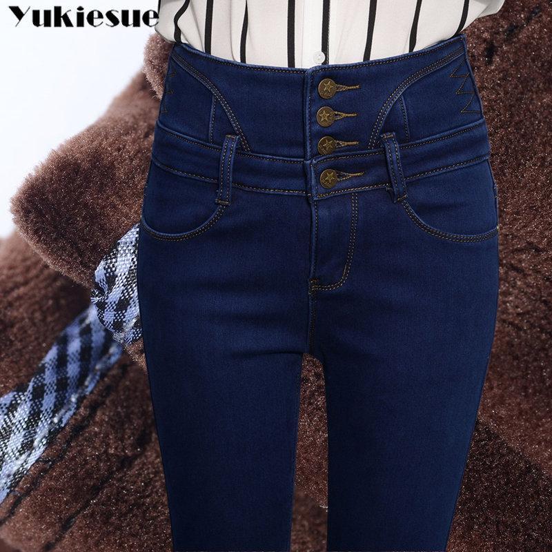Pantalon Weibliche Denimhose Taille Dünne Damen Hohe Baumwolle Jeans Elastisch Hosen Winter Warme Lässig Bodycon Frauen 2018 Samt 8ymNwOvn0P