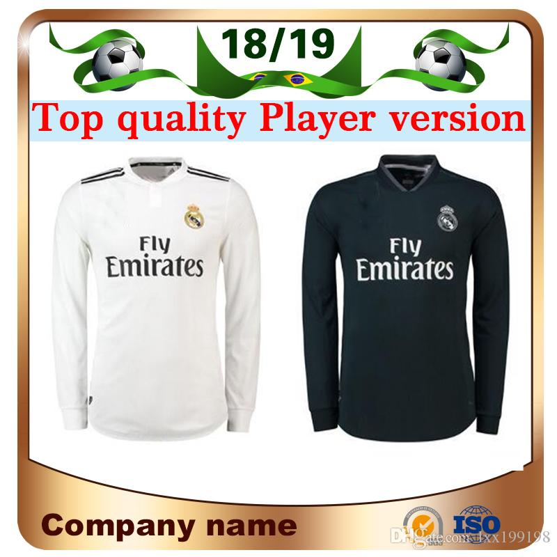 2019 18 19 Real Madrid Player Version Long Sleeve Champions League Soccer Jersey  2019 Home RAMOS KROOS ISCO ASENSIO MODRIC MARCELO Football Shirt From ... d260820af
