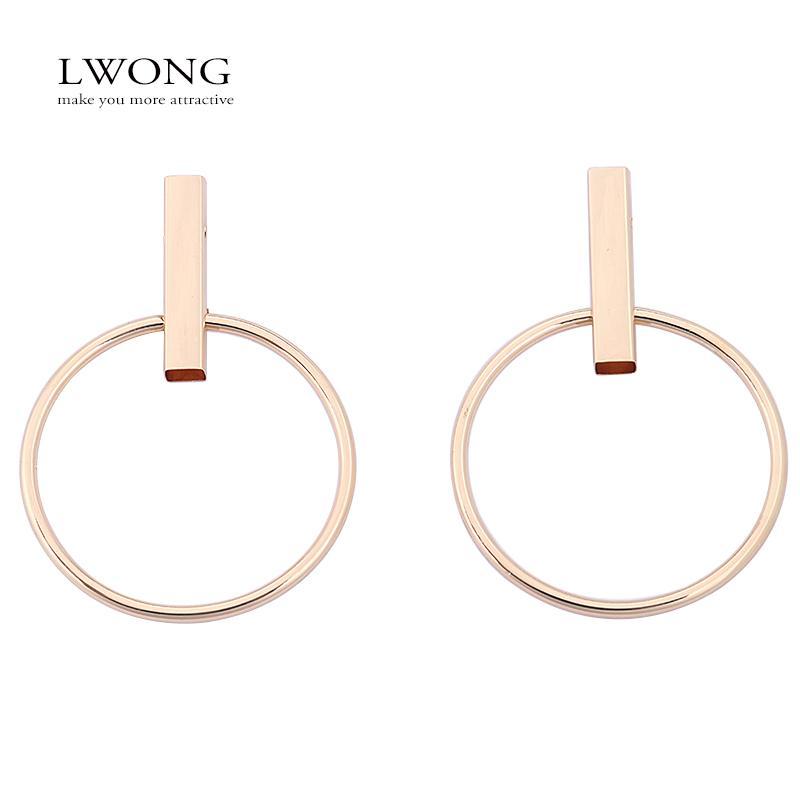 cd5afcd5ebf86 whole saleLWONG Gold Silver Color Hoop Earrings for Women Geometrical Bar  Large Circle Earrings Jewelry Minimalist Hoop Oorbellen