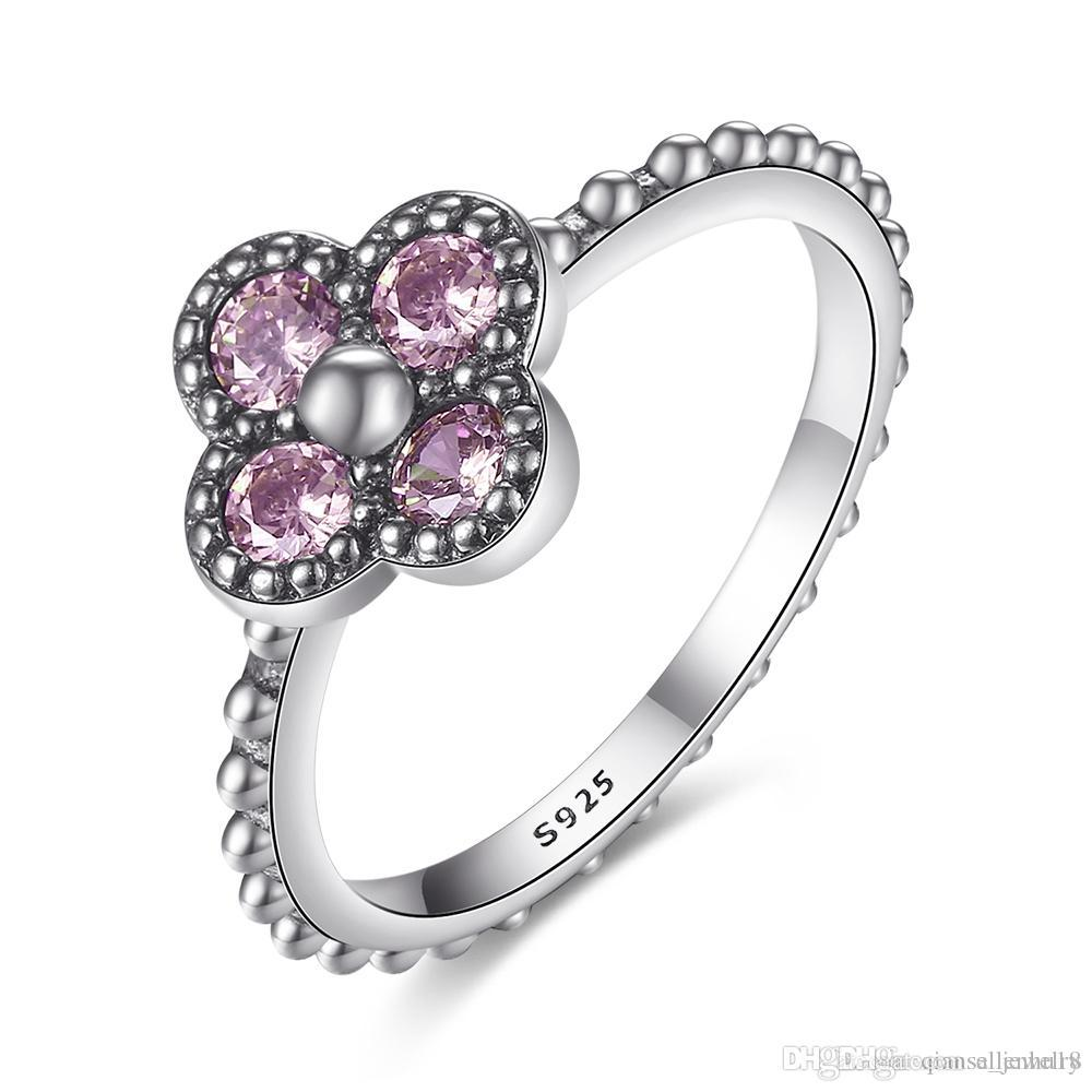 4ca86414bb4 Compre 925 Sterling Silver Clover Anel De Dedo Com Deslumbrante Rosa Zircão  Cúbico Para As Mulheres De Luxo Jóias De Casamento Acessórios Sorte  Presente De ...