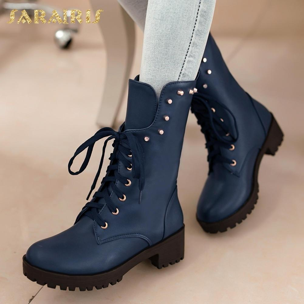 0838fca7f8d SARAIRIS NEW Plus Size 34 40 Rivet Chunky Heels Lace Up Ankle Boots Woman Shoes  Women Autumn Boots Shoes Woman Booties Black Boots Boots Pharmacy From ...