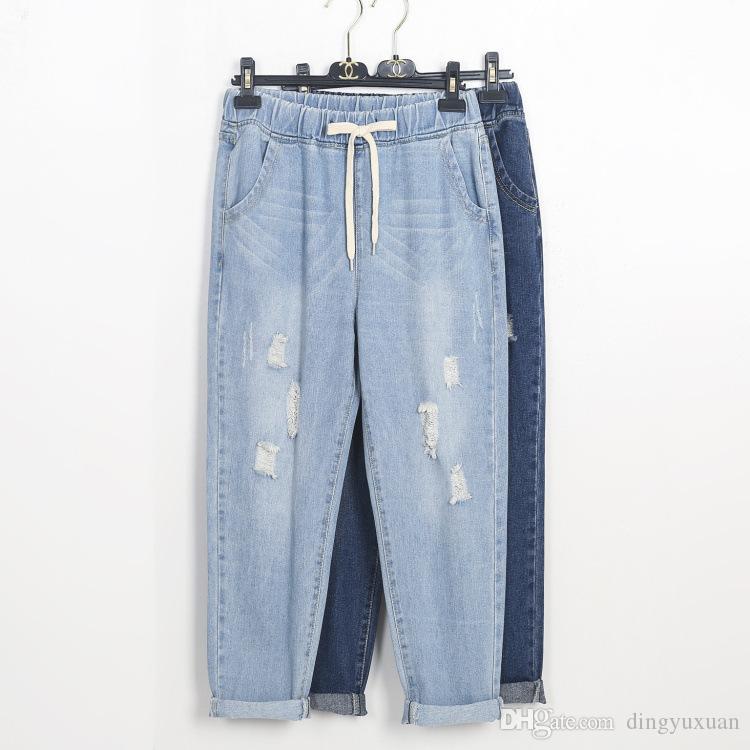 9e98940622 100kg Elastic Waist Ripped Jeans Women Cotton Harem Plus Size Ankle ...