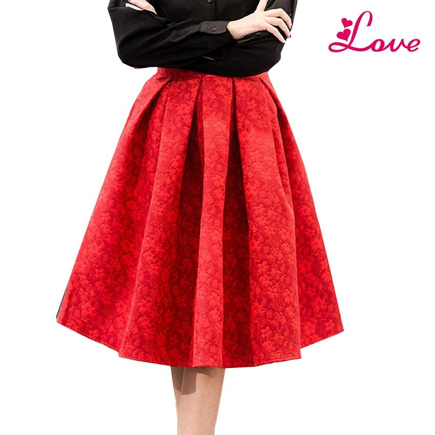 4902068d5 2019 LUCIA Autumn Retro High Waist Skirt Women Elegant Female Jacquard Mini Pleated  Skirts Knee Length Saias A Line Red Jupe 2017 From Lucia_clothes, ...