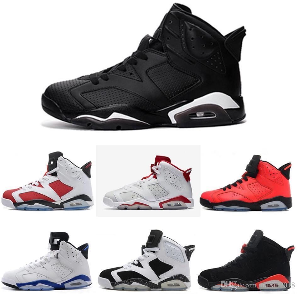 170d59228004 Acheter Nike Air Jordan Aj6 6 Chaussures De Basket Ball Carmin Classic 6s  UNC Noir Bleu Blanc Infrarouge Faible Chrome Femmes Hommes Sport Bleu Rouge  Oreo ...