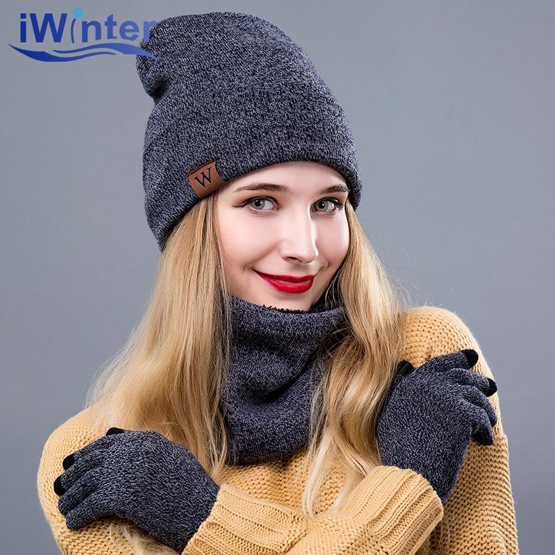 080a102395c 2019 IWINTER Winter Hats For Women Winter Scarf Warm Hat Scarf Gloves Set  For Female Hat Girl  s Skullies Beanies From Duoyun