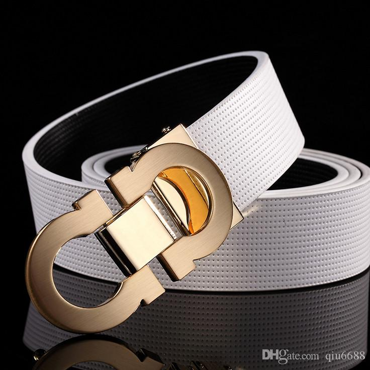 Hot selling men's cowhide leather belts, fashionable man leisure leather words take brand smooth buckle leather belt