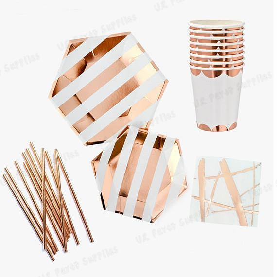 40 sets rose gold foil party decorations hexagon paper plates cups napkins straws for birthday bridal shower baby shower
