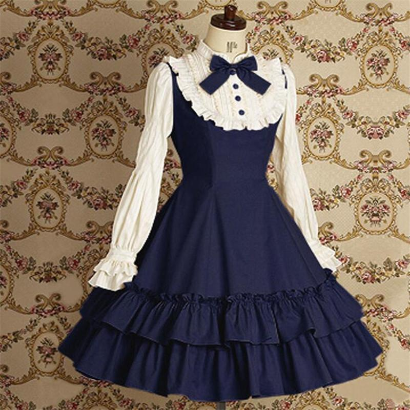8f05f4ac7b77 New Woman Spring And Autumn Lolita Splice Color Fold Skirt Bow Lace Long  Sleeve Dress Cosplay Halloween Party Princess Dress Tinkerbell Halloween  Costume ...