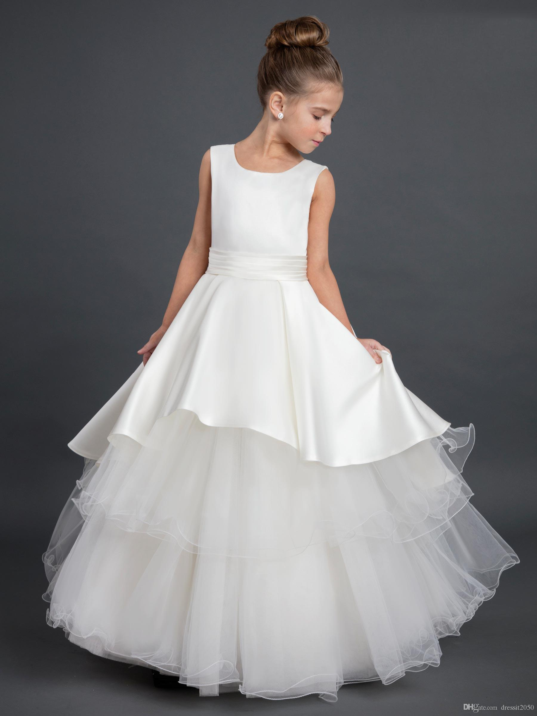 Lovely Ivory White Satin Jewel Tea Length Flower Girl Dresses Girls