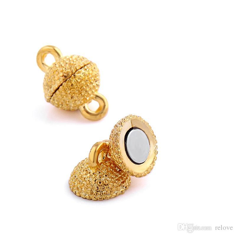 Yuvarlak Top Manyetik Mıknatıs Kolye Klipsler Kolye bilezik DIY Takı için Altın Gümüş Kaplama Klipsler Takı Bulguları