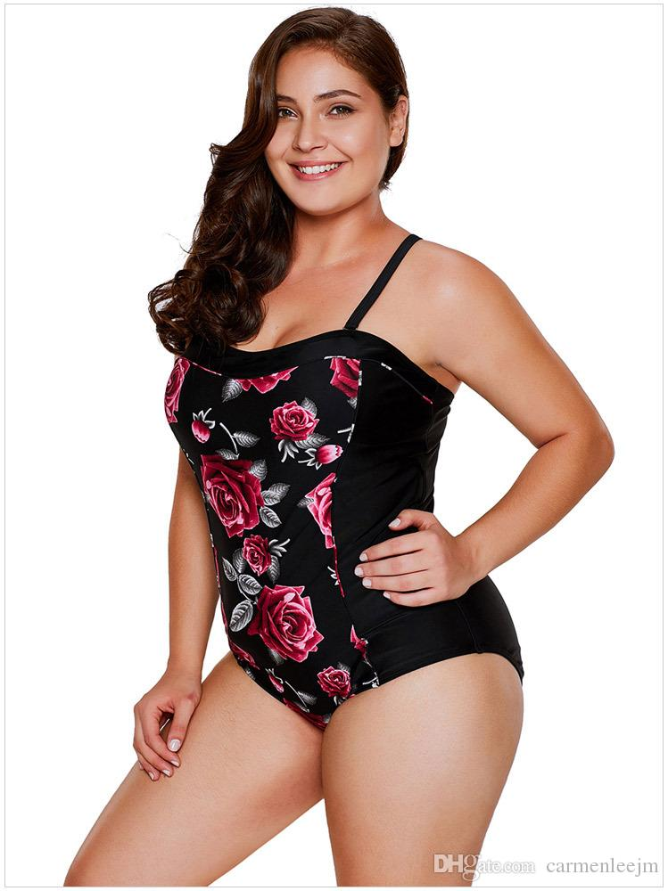 086574f0fc One Piece Swimsuit For Plus Size Women 2018 New Style Rose Printed ...