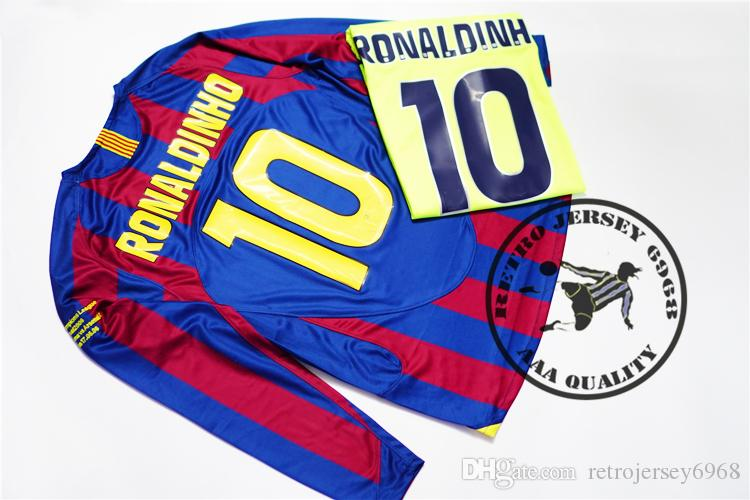 2dd53be26 2019 2006 Champion League Final Ronaldinho Jersey Messi Xavi Puyol Marquez  V.Bommel A.Iniesta Soccer Jersey Old Futbol Camisetas From Retrojersey6968