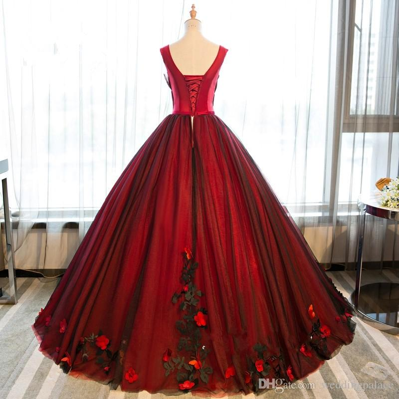2018 Latest Black and Red Ball Gown Quinceanera Dresses Tulle Sweet 16 Lace Up Appliques Prom Dresses Party Gowns Special Occasion Dresses