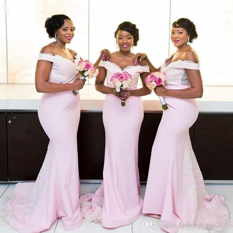 bbdbf05a1d726 Bridesmaid Dresses Black Girl 2018 Baby Pink Satin Long Mermaid Off  Shoulder Lace Top Appliques African Maid Of Honor Wedding Guest Gowns Jade  Bridesmaid ...