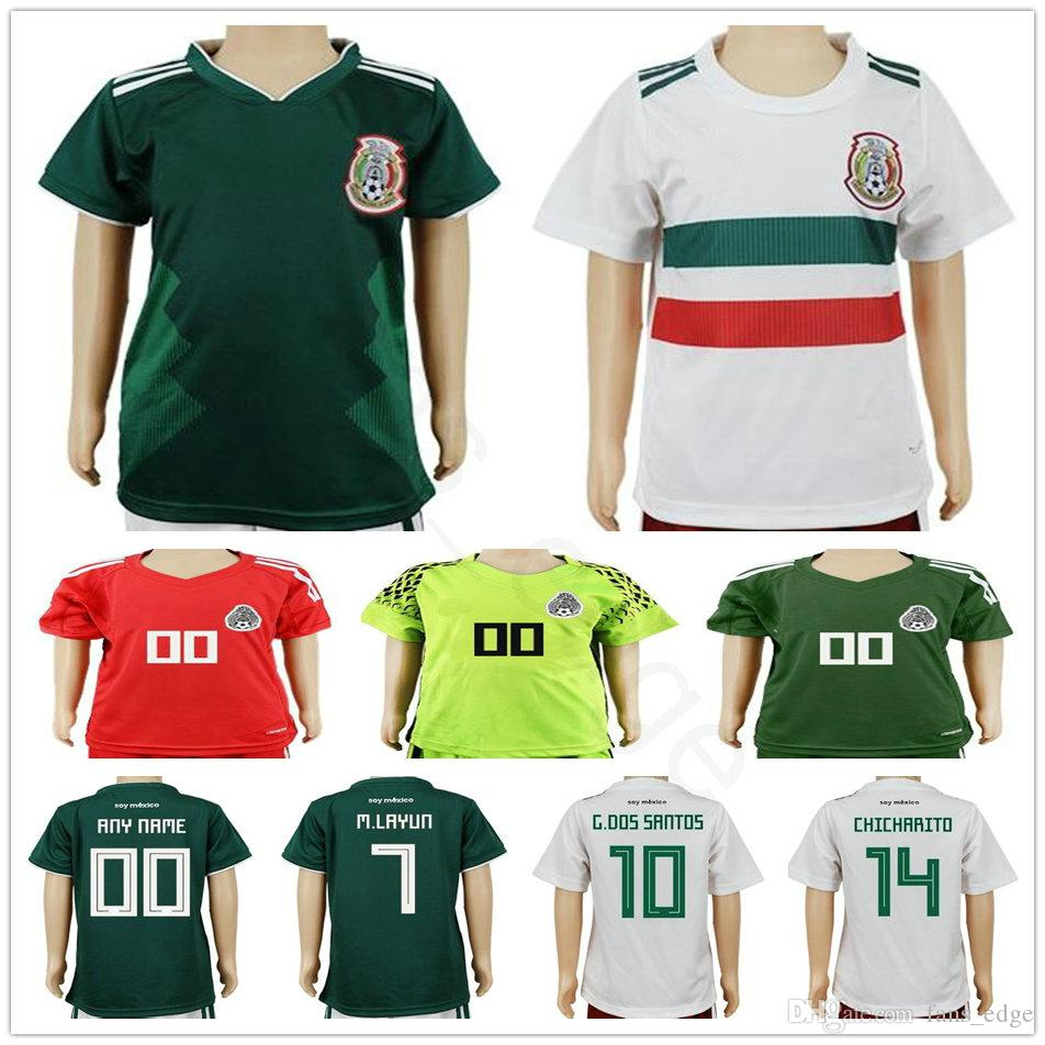 0953f22c8 2019 Kids 2018 2019 Mexico Soccer Jersey World Cup Home Away CHICHARITO  R.JIMENEZ VELA G.DOS SANTOS A.GUARDADO Football Youth Goalkeeper Shirt From  ...