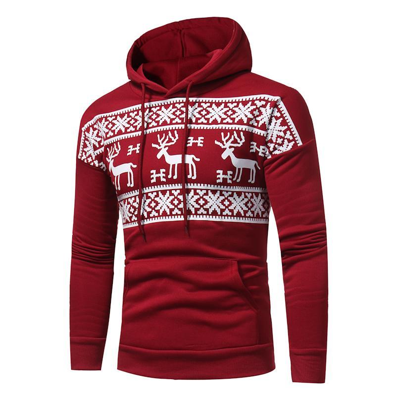 online cheap wholesale christmas hoodie deer printing hoodies red men fashion snowflake sweatshirt christmas hoody mens purpose tour xxxl by elizabethy - Christmas Hoodie