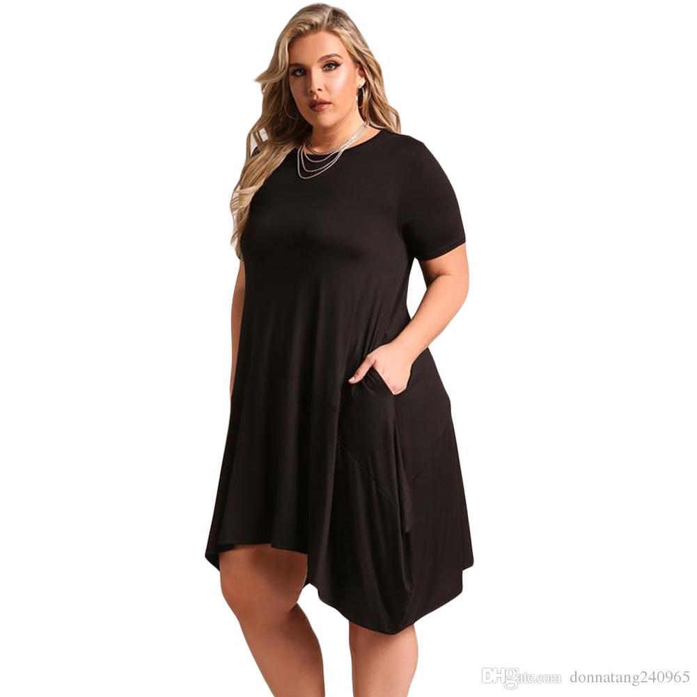 2018 Summer Ladies Loose Dresses Short Sleeve Jersey Dress Plus Size XXXL For Fat Women Asymmetrical Dress