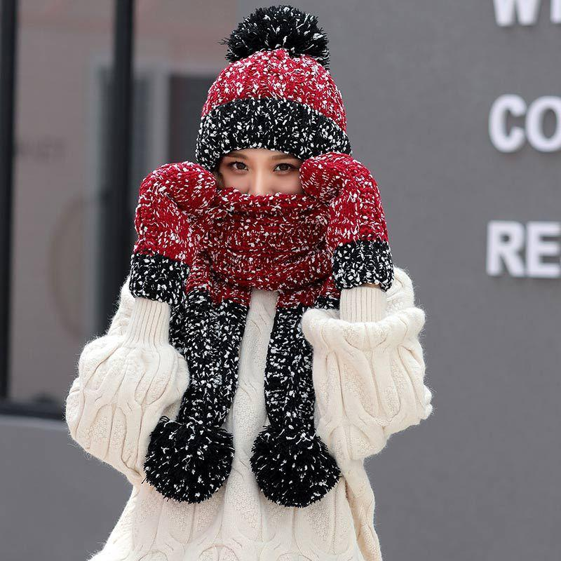 58f5080566f 2019 Set Women Winter Hats Scarf Gloves For Girls Thick Cotton Winter Accessories  Hats Sets Female Beanie Scarf Gloves From Maocai