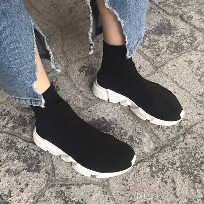 Nom Marque de haute qualité unisexe chaussures de sport plates mode chaussettes bottes femme nouveau slip en tissu élastique formateur vitesse coureur homme chaussures à l'extérieur